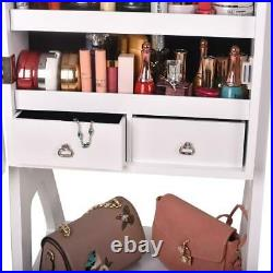 FUll MIrror Jewelry Cabinet Armoire Cosmetic Storage Box Floor Stand with 2Drawers