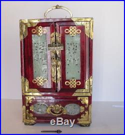 Fabulous Vintage Asian Chinese Jade Brass Wood Jewelry Box Chest 12.5 tall Lock