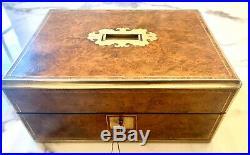 Fantastic Burl Walnut & Brass Bound Jewellery / Dressing Box. Circa 1850