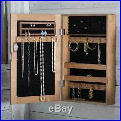 Farmhouse Rustic Finish Wood Locking Wall Mount Jewelry Storage Cabinet Armoire