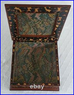 Faux tortoiseshell wood box brass bail antique style georgian federal jewelry