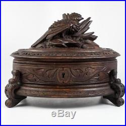 Fine Antique HC Black Forest Jewelry Box, Casket, Oval with Bird, Animalier Era