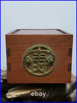 Fine Chinese Wood With Brass Three Drawers Jewelry Box