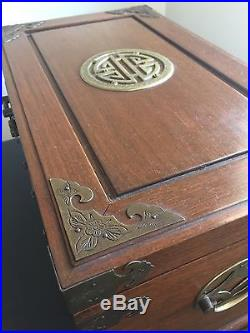 Fine LARGE Old Carved Chinese Jewelry Chest Box 3-Tier Brass Etched Mounts Silk