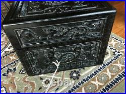 Fine Old Chinese Zitan Hardwood Jewelry Case Box with Carvings, 15 3/4 long