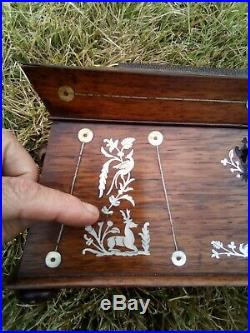Finely Inlaid 19th C. Rosewood Sewing Jewelry Box c. 1840 tea caddy antique 12