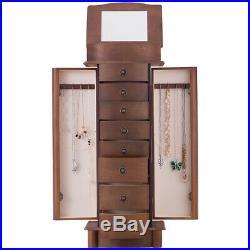Flip Top Mirrored Jewelry Cabinet Armoire Storage Chest Box Stand Organizer Gift