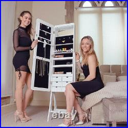 Floor Deluxe Mirror Jewellery Cabinet with LED Lights Organiser Makeup Storage