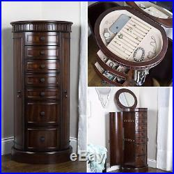 Floor Jewelry Armoire Box with Mirror Large Wood Cabinet Stand Storage Organizer
