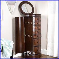 Floor Jewelry Box with Mirror Tall Armoire Stand Wood Cabinet Storage Organizer
