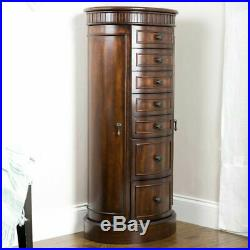 Floor Jewelry Box with Mirror Tall Armoire Wood Cabinet Storage Organizer Large