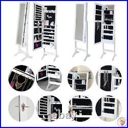 Floor Standing Mirror Jewellery Cabinet with Storage Drawers Organiser Lockable