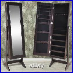 Free Standing Mirrored Jewelry Cabinet Armoire Storage Organizer Box for Gift