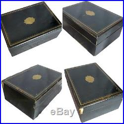 French Antique Rare Napoleon III Wood Vanity Box Ebony & Brass Inlay Jewelry