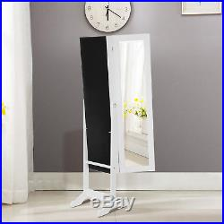 Full Size Mirror Jewelry Cabinet Organizer Armoire Storage Chest Box withStand