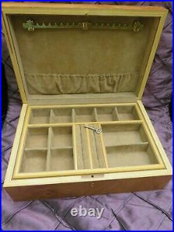 GENUINE AGRESTI JEWELRY BOX LACQUERED BURL WOOD FLORENCE ITALY 13 w TRAY