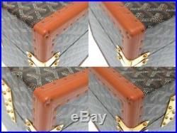 GOYARD Herringbone Jewelry Box Case Hand Bag Brown PVC Wood Leather Rare