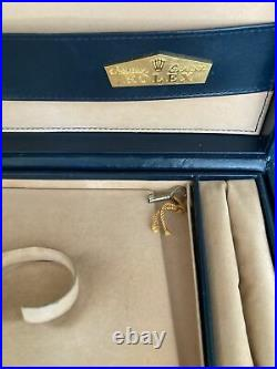 Genuine Vintage Rolex Crown Collection Watch Jewelry Box Case Complete Set withKey