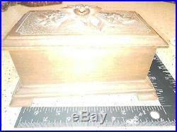German Black Forest Carved Walnut Wood Jewelry Casket Box carved Edelweiss