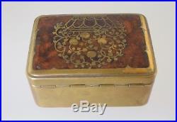 German Erhard & Sohne Wood & Brass Inlaid Jewelry Box Art Nouveau Antique