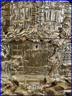 Gorgeous Ebony Carved Swiss Chalet Jewelry Trinket Box Circa 1835