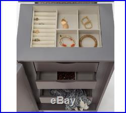 Gray Jewelry Armoire Cabinet Holder Box Storage Chest Stand Bedroom Furniture