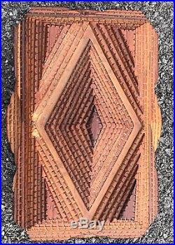 Great Form American Tramp Art Lined Jewelry Box. Early 20th Century Folk Art