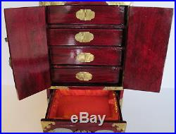 Great Vintage Asian Chinese Jade Brass Wood Jewelry Box Chest 12.5 tall Lock