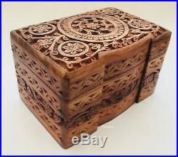 Hand Carved Wooden Floral Jewellery Storage Organiser Box Case Chest Holder