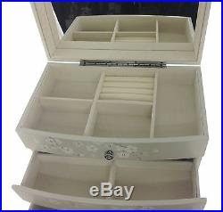 Hand Crafted Beige Wood blossom Jewellery Box