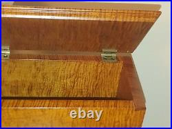 Hand Made Tiger Maple Dovetailed Wood Urn Box inside dimension 8w x 11l x 8h