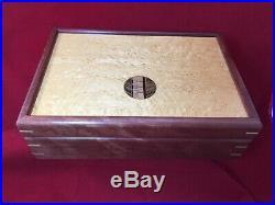 Handcrafted Artisan Wood Jewelry Box Birds Eye Maple Walnut Inlaid Dovetail