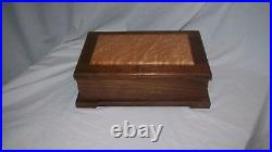 Handcrafted Large Walnut Jewelry Box with Birds Eye Maple inlayed top
