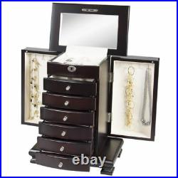 Handcrafted Wooden Jewelry Case Box Organizer Wood Armoire Cabinet Storage Chest