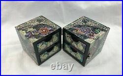 Handmade Colourful Mother of Pearl Wood Flower Oriental Treasure Jewelry RingBox