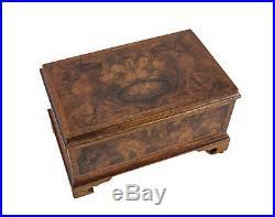Handmade Footed Burled walnut Wood Inlay Jewelry Desk Box, c1900