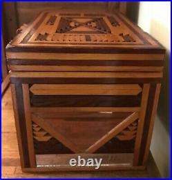 Handmade Vintage Jewelry Box Folk Art Inlay Marquetry Wood Drawers Peach Mirror