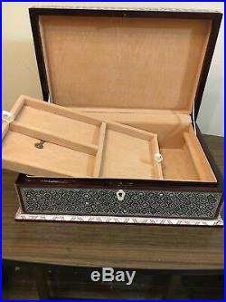 Handmade Wood Jewelry Box Inlaid Mother of Pearl