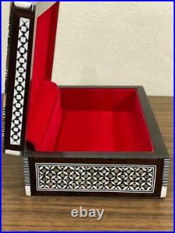 Handmade Wood Jewelry Box Inlaid Mother of Pearl (8x5.2)