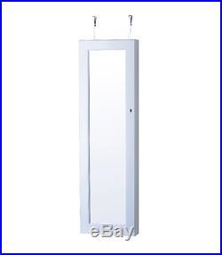 Hanging White Wall Mount Jewelry Armoire Cabinet Storage Box Mirror Organizer