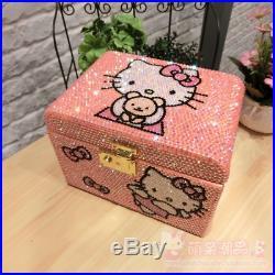 Hello Kitty Handmade Rhinestone Wooden Jewelry Box Lock Multilayer Organizer Box