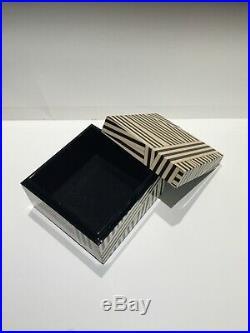 Henri Bendel Lacquer Jewelry Box 5 Square VERY RARE! Disturbed Stripe
