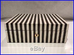 Henri Bendel Signature Brown and White Stripe Lacquered Jewelry Box