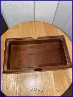 Higgins MID Century Modern Jeweled Glass LID Wood Trinket Jewelry Box