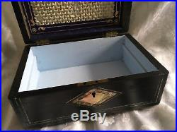 High Quality MID Victorian Sewing Jewellery Box With Key And Silver Content