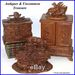 Highly Ornate Antique Black Forest 10.5 Jewelry or Documents Box, Hunting Dog +