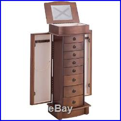 Home Wood Armoire Storage Chest Box Stand Jewelry Cabinet Storage with Mirror US