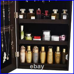 Hot Full Mirror Jewelry Cabinet Armoire Organizer Wall/Door Hook Mounted Brown