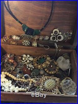 Huge Antique Sterling Silver jewelry Lot Unique Wood Box Pendants Retro egyptian