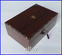 Immaculate French Indian Rosewood & Inlay Jewellery Box